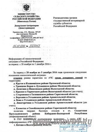 Информация об эпизоотической ситуации в Российской Федерации за период с 28 ноября по 05 декабря 2016 года