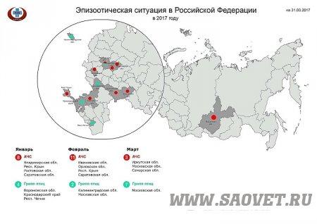 Эпизоотическая обстановка в РФ за период с 03 по 10 апреля 2017 года